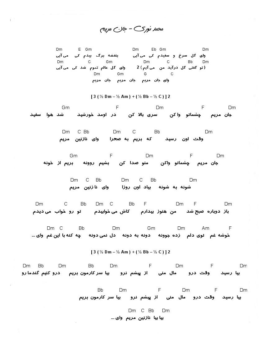 دانلود آهنگ جان مریم از محمد نوری   ویلا موزیک